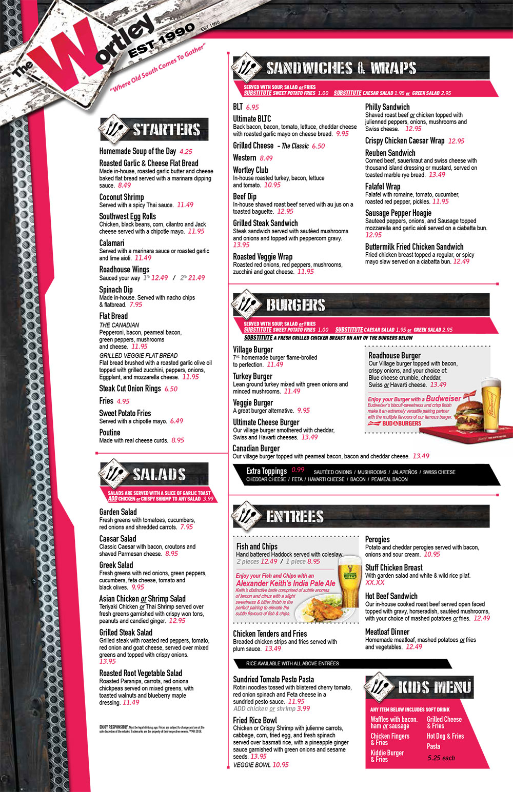 The Wortley Roadhouse Menu: Starters, Salads, Sandwiches